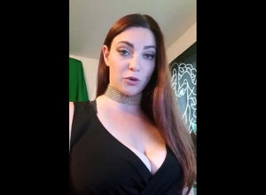Lengthy haired big-titted lady praises..