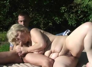 Beau cuckold with ash-blonde..