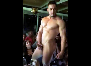 Naked dude stripper tugging stiffy at..