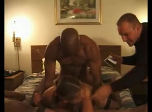 Perverted hubby filming how two black..