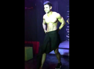 Masculine stripper reveals his long..