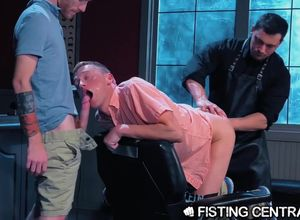 Bottoms Deeply Fisted by Leather Parent