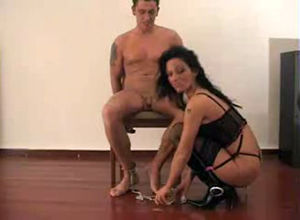Kinky dark haired Cougar ravages roped..